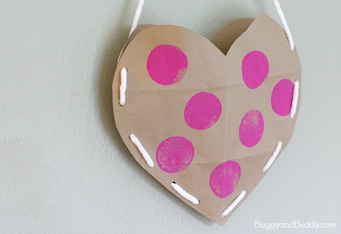 Heart Valentine Holder made from a brown paper grocery bag