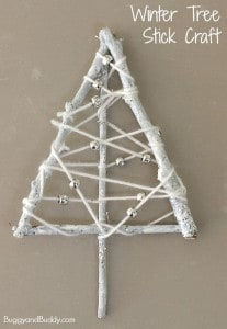 Winter Tree Craft for Kids Using Yarn Wrapped Sticks