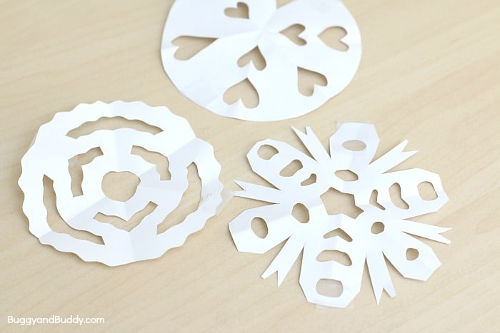 cut out paper snowflakes for this rainbow science experiment for kids