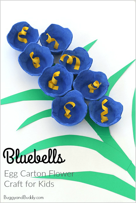 Egg Carton Crafts Part - 47: Bluebells For Spring: Egg Carton Flower Craft For Kids- Perfect Art Project  For Spring