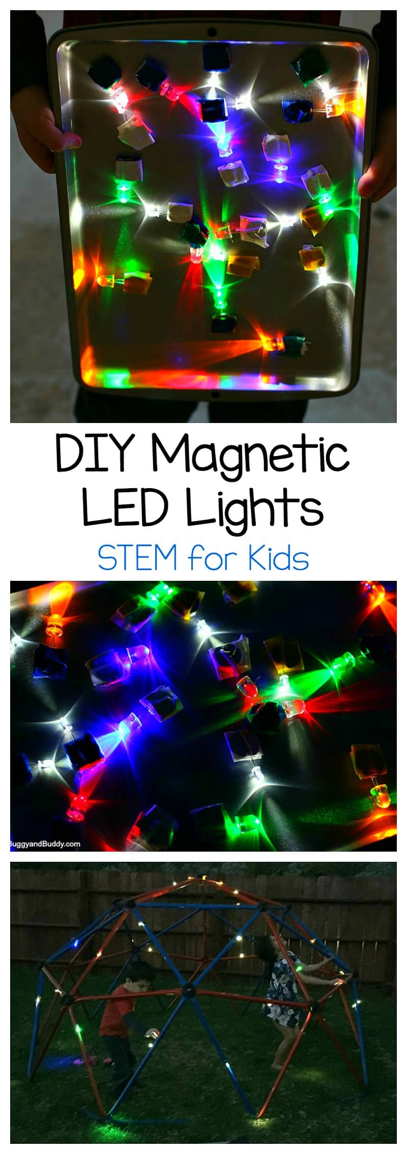 Science for Kids: Explore light, circuits, and magnetism by making your own magnetic LED lights in this super cool STEM / STEAM activity for children . ~ BuggyandBuddy.com