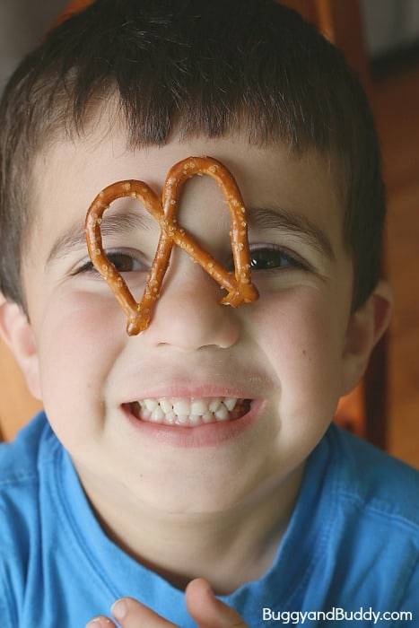making shapes with pretzels
