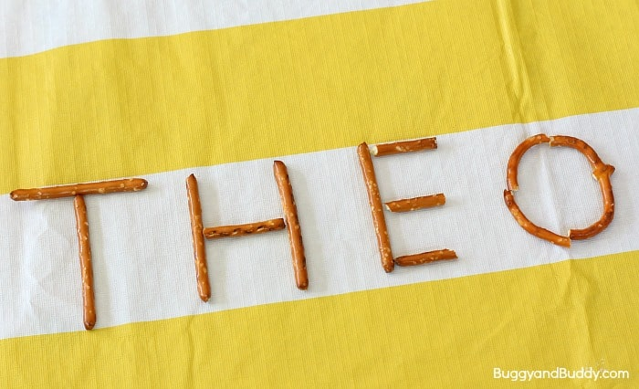 preschool name practice using pretzels