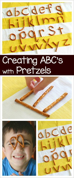 Fun Preschool and Kindergarten Activity: Making letters of the alphabet using pretzels!