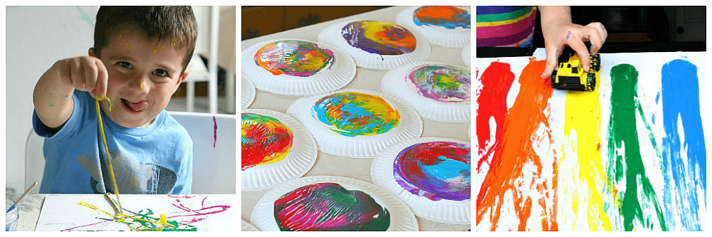 process art for preschoolers using tempera paint