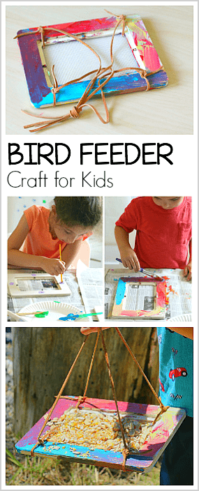 Easy Homemade Bird Feeder Craft for Kids- Combine art and the outdoors in this simple bird feeder science / STEM / STEAM activity! ~ BuggyandBuddy.com #birds #outdoorscience #scienceforkids #stem #steam #craftsforkids