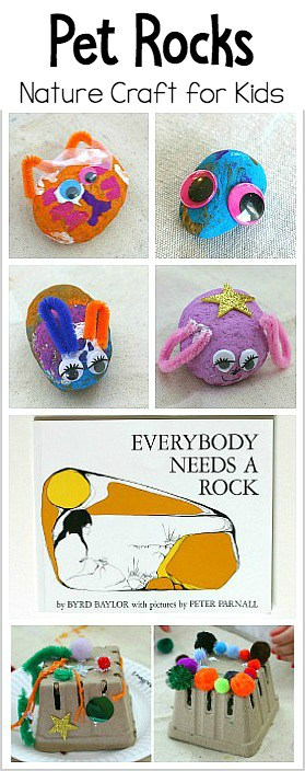 Pet Rocks Nature Craft for Kids based on the children's book Everybody Needs a Rock