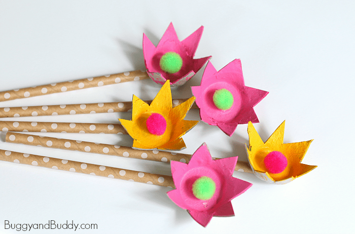 How to make egg carton flowers buggy and buddy craft for kids how to make egg carton flowers mightylinksfo Choice Image