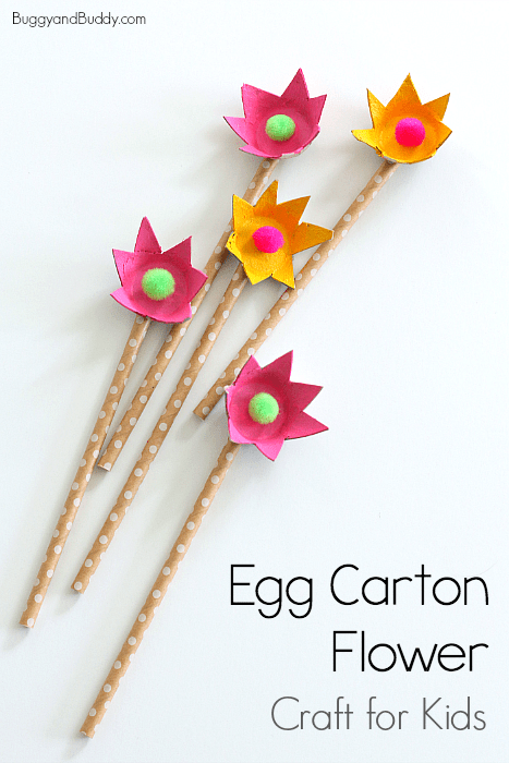 how to make flowers using egg cartons- craft for kids