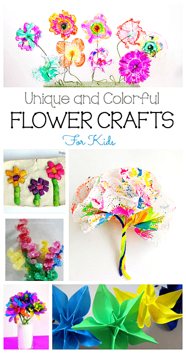9 Colorful and Unique Flower Crafts for Kids- perfect for spring and Mother's Day! (Origami flowers, coffee filter flowers, cupcake liner flowers and more!)