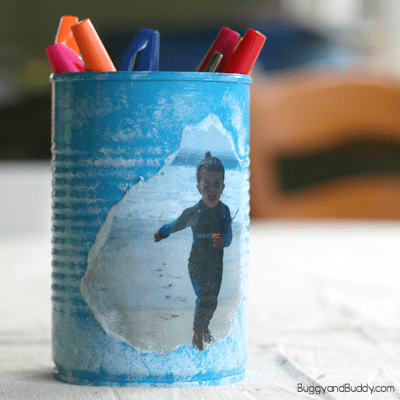 Personalized Tin Can Pencil Holder Craft for Mother's Day or Father's Day