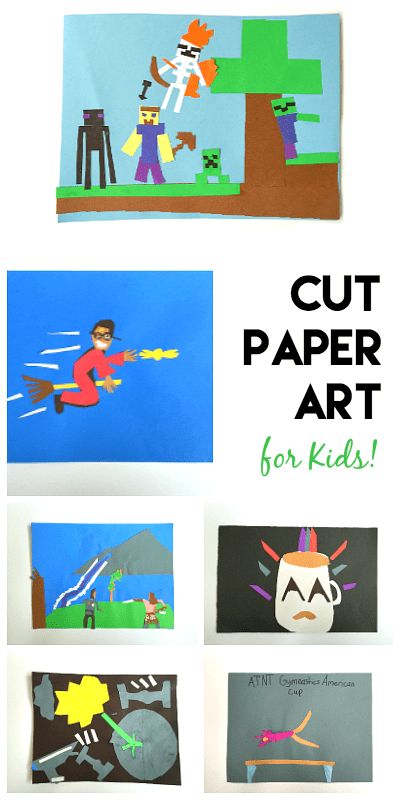 Easy Art Project for Kids: Create art using cut paper! Perfect when you need a quick-and-easy project and makes a great rainy day activity too! ~ BuggyandBuddy.com