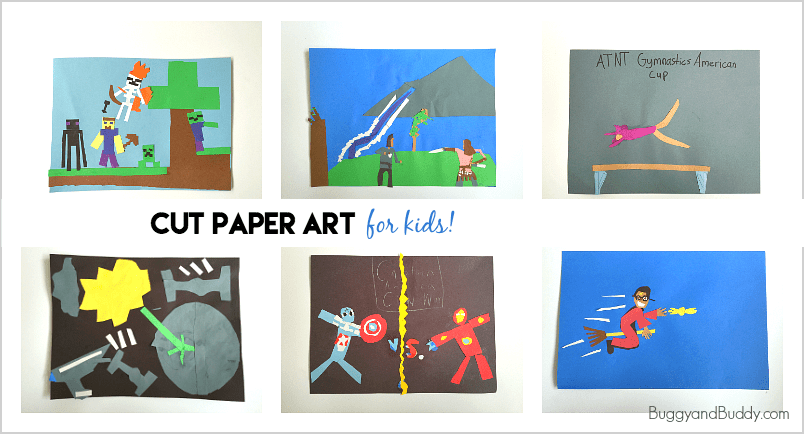 easy art project for kids: create artwork using cut paper shapes