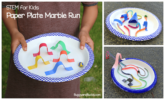 STEM Challenge for Kids: Create a paper plate marble maze