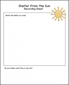 free recording sheet for sun STEM challenge for kindergarten