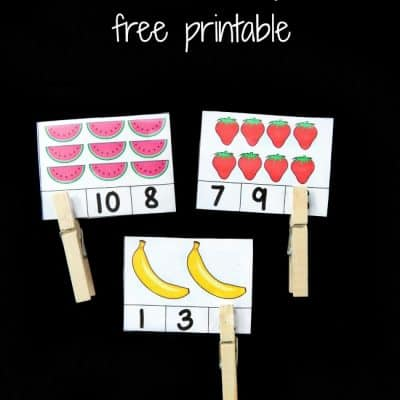 Counting Activity: Fruit Themed Count and Clip Cards