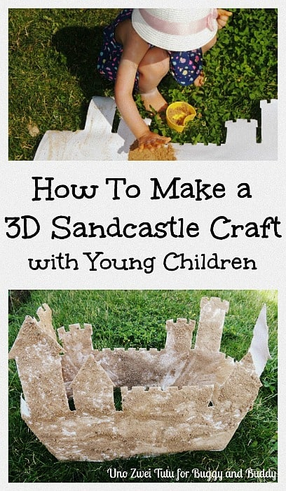 3-D Sandcastle Craft for Kids: Use real sand to make this super cool sandcastle craft this summer and bring the beach right at home! Such a fun sensory art project for toddlers, preschoolers, and kindergarten and also a great addition to a fairytale unit! ~ Uno Zwei Tutu for BuggyandBuddy.com