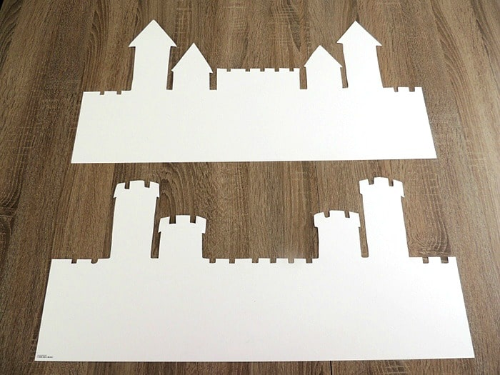 draw and cut out two sandcastle shapes