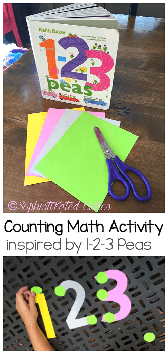 Hands-On Math for Kids: Counting Activity inspired by the children's book, 1-2-3 Peas! Practice one-to-one correspondence, counting, addition, and subtraction! ~ SophistiKated Cuties for BuggyandBuddy.com