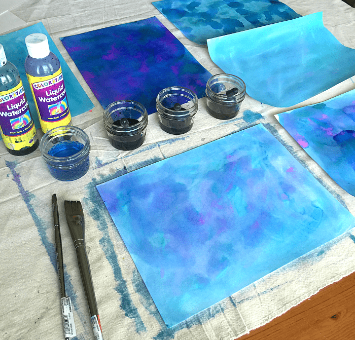 paint a night sky background using watercolor paints