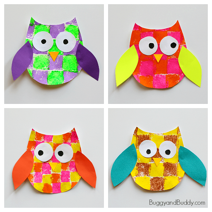 Sponge Painted Owl Craft for Kids with Owl Template - Buggy and Buddy