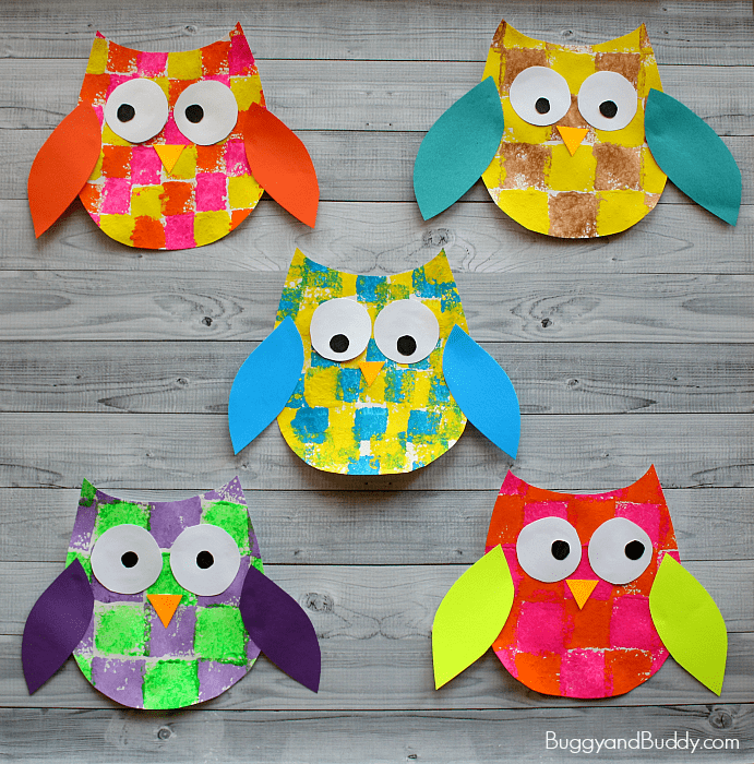 picture about Owl Template Printable called Sponge Painted Owl Craft for Small children with Owl Template - Buggy