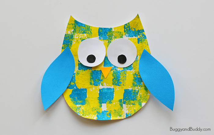 Sponge Painted Owl Craft for Kids with free owl template printable