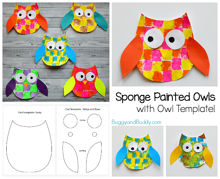 Sponge Painted Owl Craft For Kids With Owl Template Buggy And Buddy