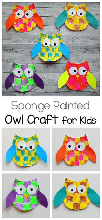 graphic about Free Owl Printable Template titled Sponge Painted Owl Craft for Young children with Owl Template - Buggy