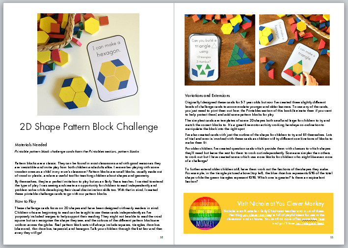 math for kids: pattern block challenge cards