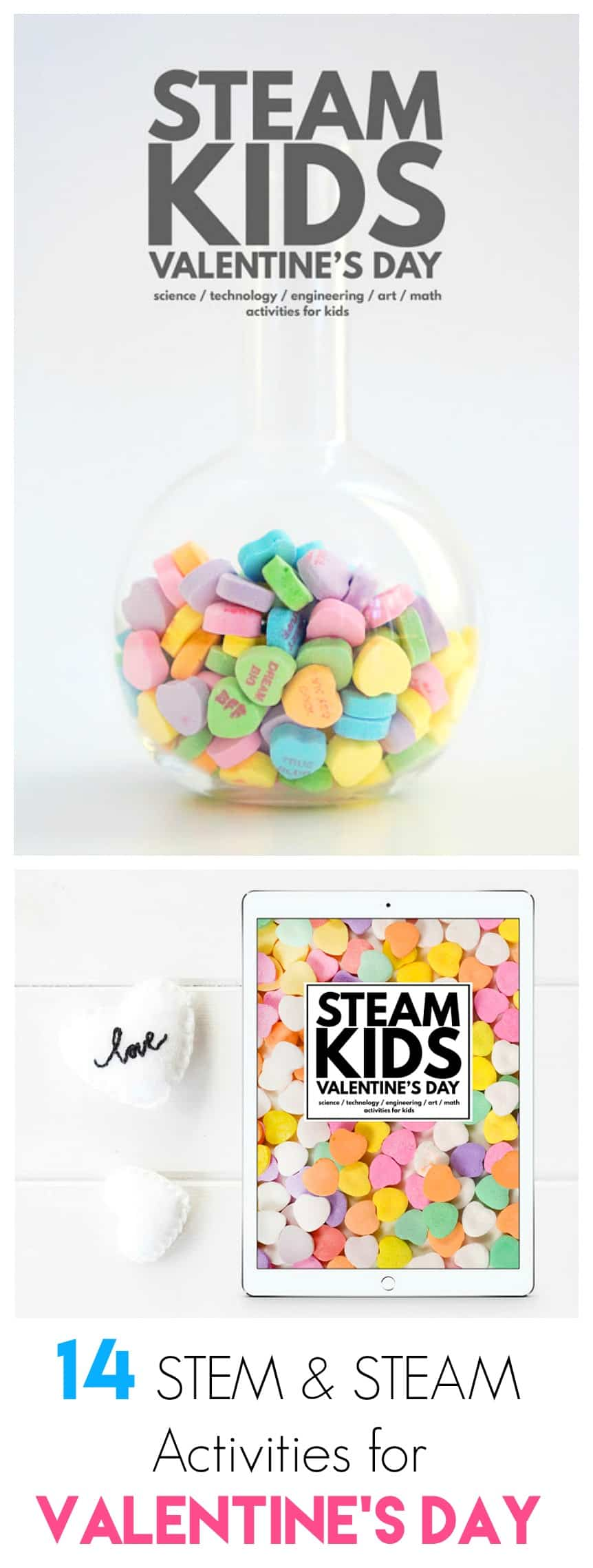 STEAM Kids Valentine's Day: STEAM / STEM activities for preschool, kindergarten, and elementary aged children! Including crystal hearts, magnets, rocket valentines, LED roses, and more!