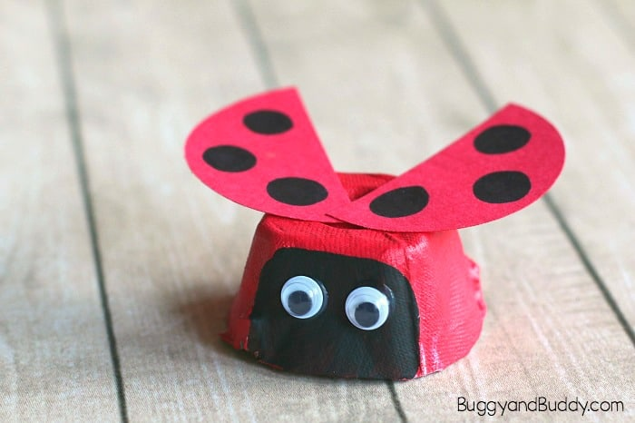 egg carton ladybug craft for kids