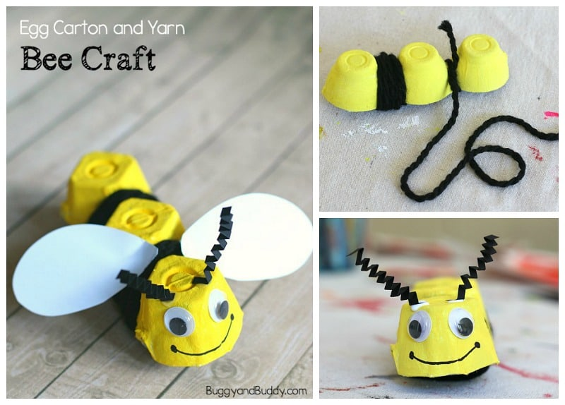 yarn wrapped egg carton bee craft for kids