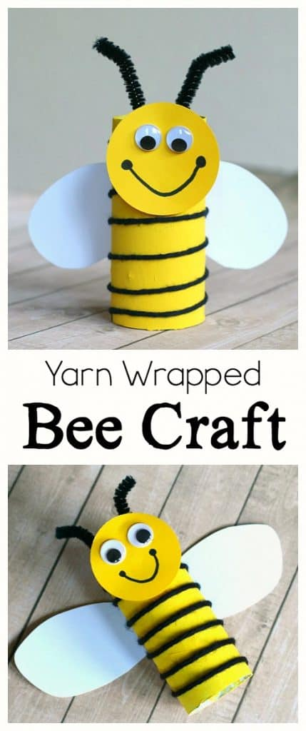 bee craft for kids using toilet paper roll and yarn