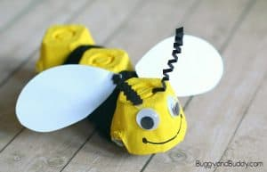 Yarn-Wrapped Egg Carton Bee Craft for Kids