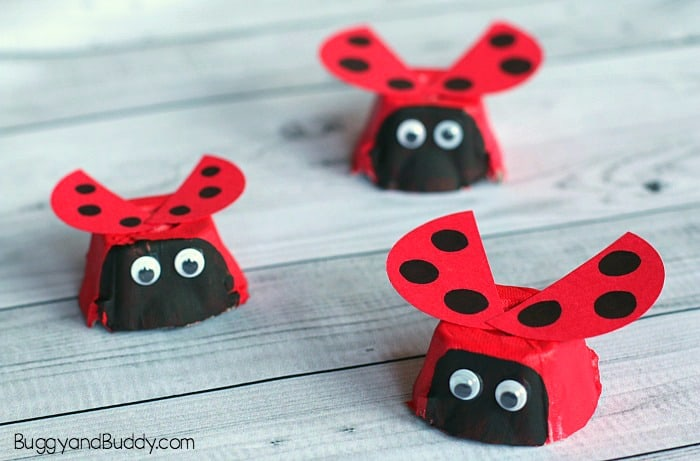 Delightful Egg Carton Crafts Part - 13: Egg Carton Ladybug Craft For Kids