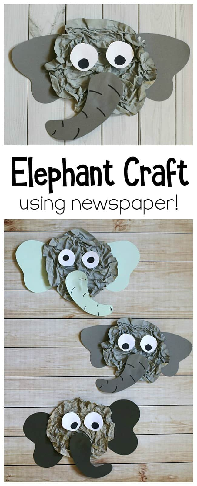 Elephant Craft for Kids Using Newspaper: This elephant art project uses a really fun technique to create actual wrinkles- just like a real elephant! Perfect for a unit on jungle animals, zoo animals, or to go with an Elephant and Piggie book. Great for preschool, kindergarten, and first grade! ~ Buggyandbuddy.com