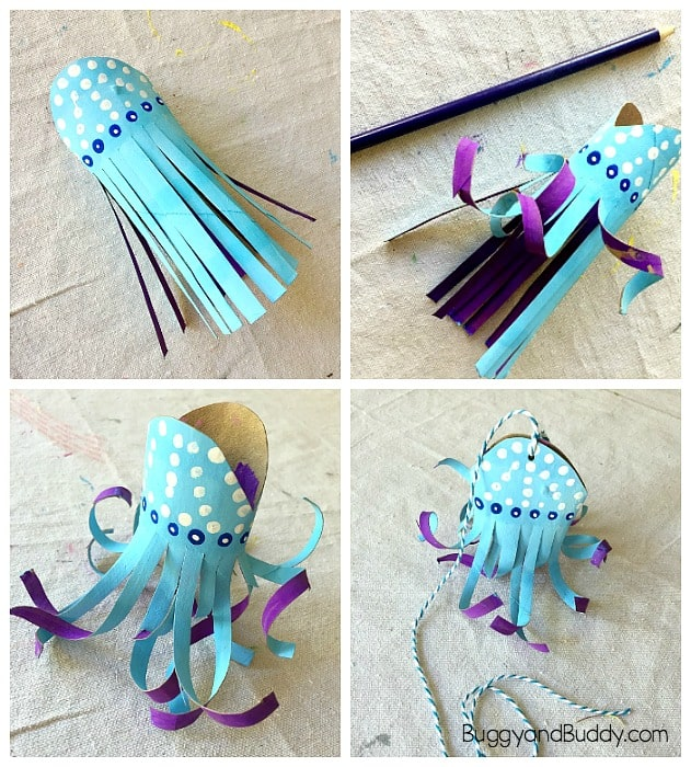 paper towel roll jellyfish craft for kids