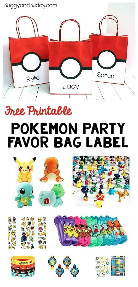 Pokemon Party Favor Bag: Make a simple pokeball treat bag for your Pokemon themed birthday party using our free printable that can be personalized. You'll also find Pokemon party favor gift ideas! ~ BuggyandBuddy.com
