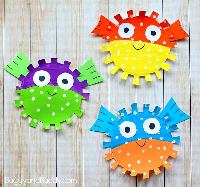 Paper Plate Pufferfish Craft For Kids Buggy And Buddy