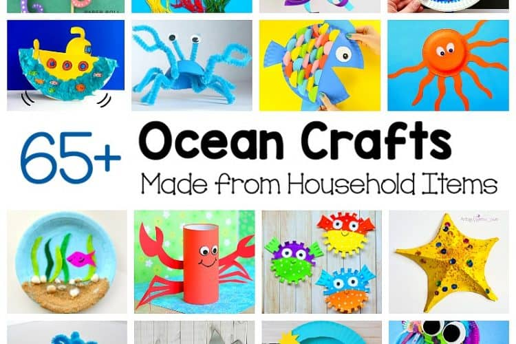 ocean crafts for kids using common materials from around the house like paper plates, egg cartons, plastic bags and more!