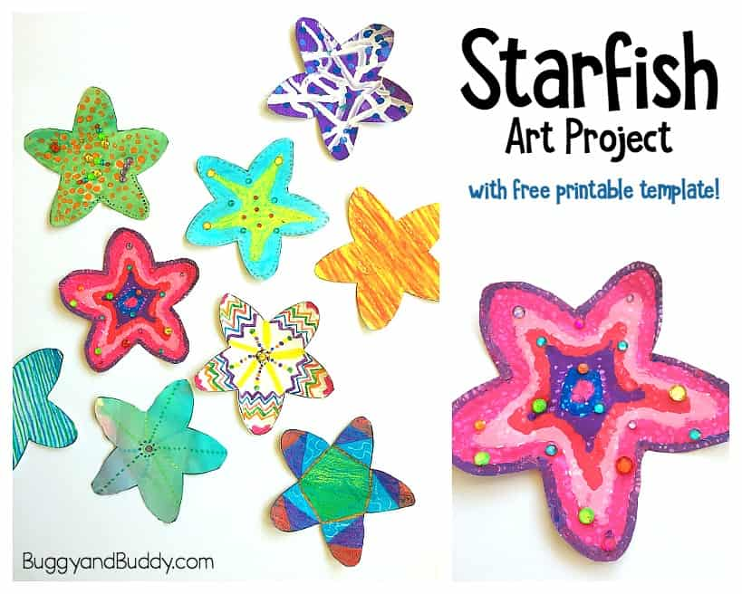 graphic about Printable Starfish titled Very simple Starfish Craft for Little ones with No cost Printable Template
