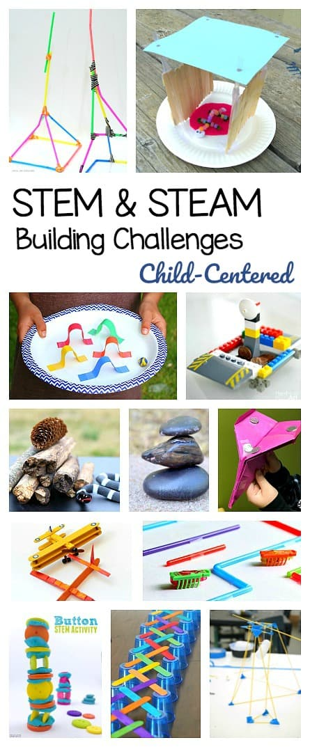 Over 25 STEM and STEAM Building and Design Challenges for kids! All child-centered and hands-on: such a fun and easy way to explore science, technology, engineering, and math!