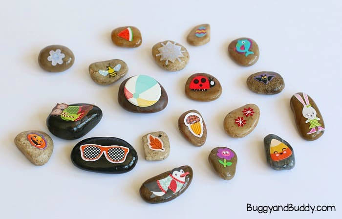 sticker rocks to represent the four seasons