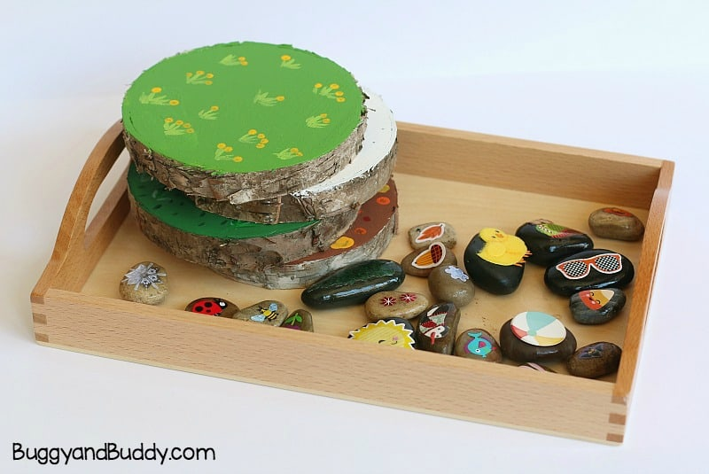 sorting seasons activity for preschool using stones or rocks and other natural materials