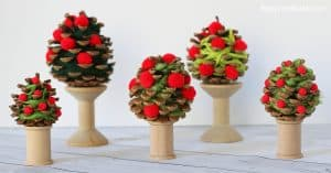 Yarn-Wrapped Pinecone Apple Tree Craft for Kids