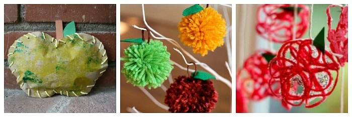 Apple crafts for kids using yarn