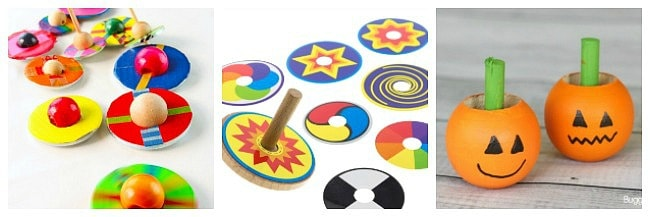 spinning top science, spinning top crafts for kids and spinning top toys