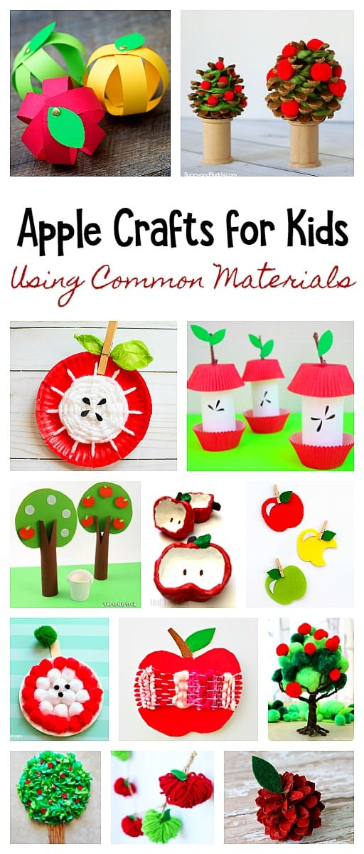 Apple Crafts for Kids Using Common Materials from Around the House: Including paper plate apples, pinecone apples and apple trees, pom pom apples and more!