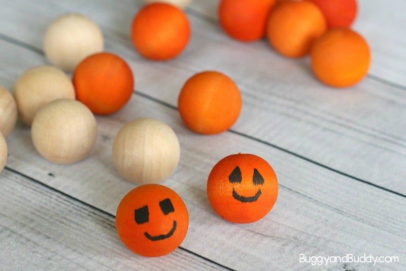 how to make jack o' lanterns out of wooden beads or wooden balls and dye